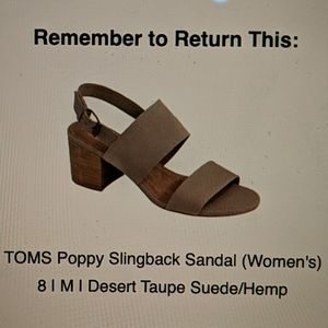 BRAND NEW Toms Poppy Slingback Sandals